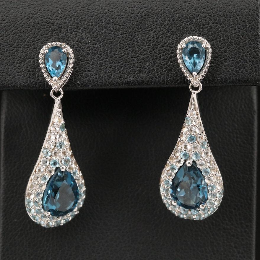 Sterling Pavé Topaz Earrings