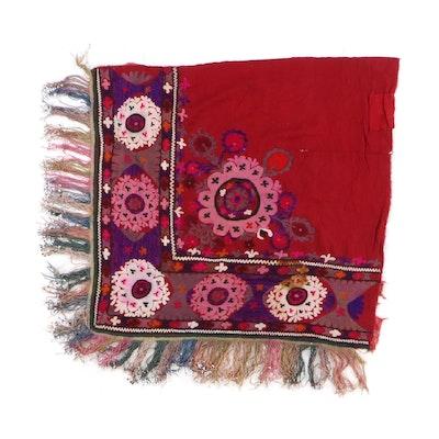 2'11 x 3'2 Hand-Embroidered Uzbek Textile Corner Remnant, 1920s