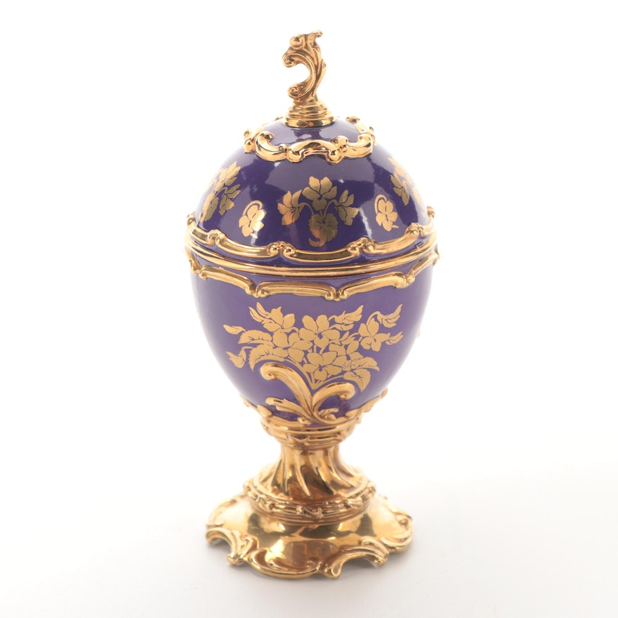 """House of Faberge for Franklin Mint """"Swan Lake"""" Musical Egg Figurine"""