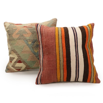 Handwoven Turkish Kilim Face Accent Pillows, 2010s