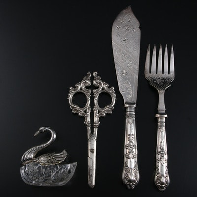 English Chased Sterling Silver Fish Serving Utensils and Other Tableware