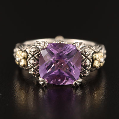 Barbara Bixby Sterling Amethyst Ring with 18K Accents