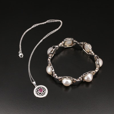 Sterling Pearl Link Bracelet and Corundum Openwork Pendant Necklace