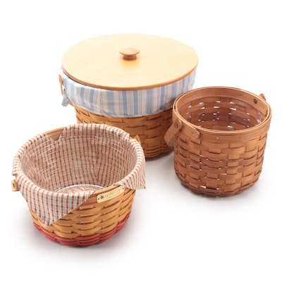 """Longaberger Handwoven Round Baskets Including """"Homestead"""" Collectors Club"""