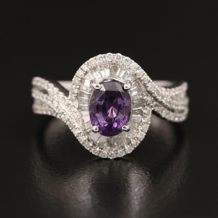 14K 1.53 CT Color Change Sapphire and Diamond Ring