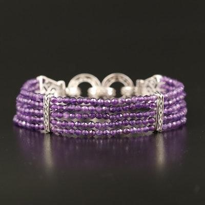Sterling Multi Strand Amethyst Bracelet