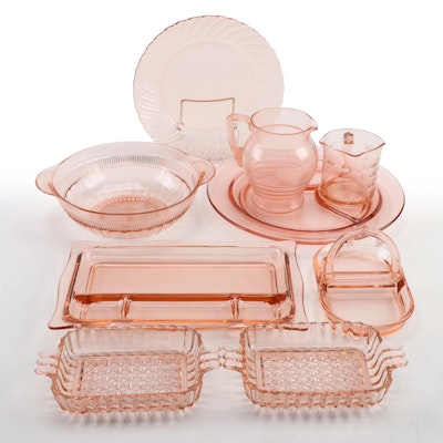 Federal, Kellogg, Jeannette, Hocking and Other Pink Depression Glass Serveware
