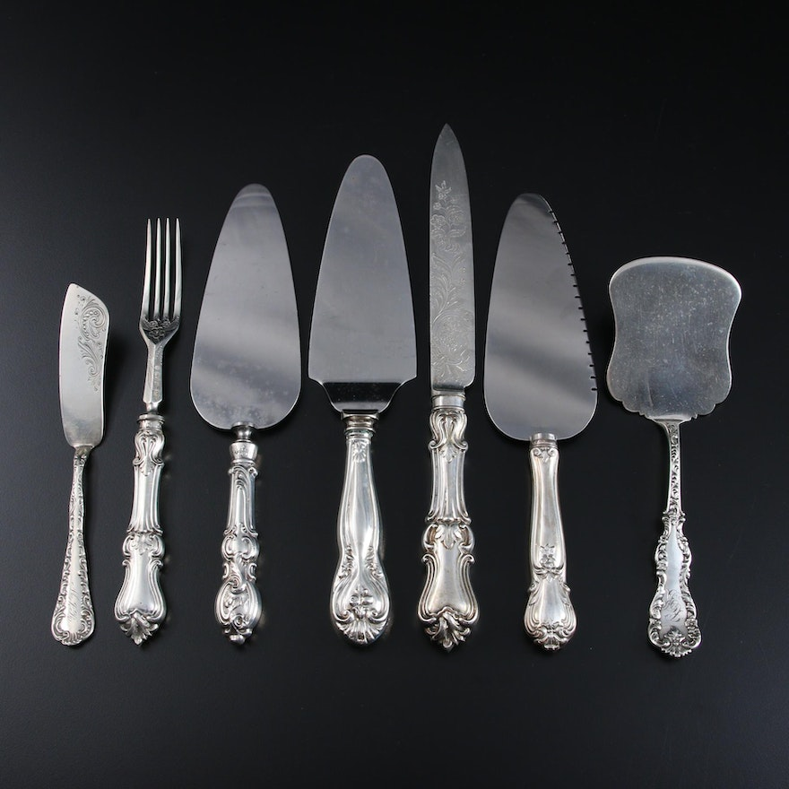Aaron Hadfield Fruit Set and Other English and American Sterling Silver Utensils