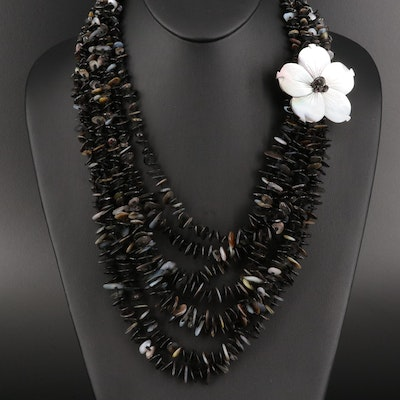 Black Mother of Pearl Multi Strand Necklace with Flower Accent
