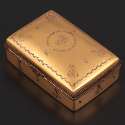 Hand-Painted Gilt-Decorated Bee Motif Limoges Porcelain Box
