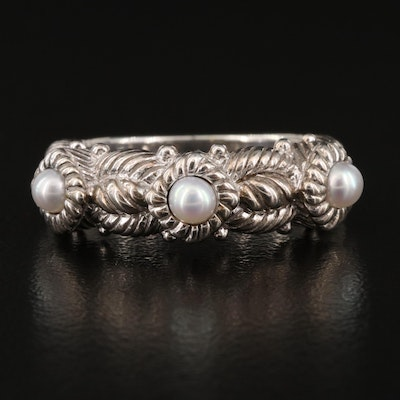 Judith Ripka Sterling Silver and Pearl Band