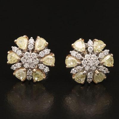 18K 2.08 CTW Flower Earrings