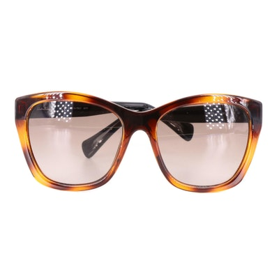 Salvatore Ferragamo Sunglasses in Black and Brown Tortoise Acetate with Case