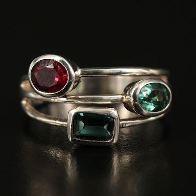 Sterling Bezel Set Tourmaline Ring