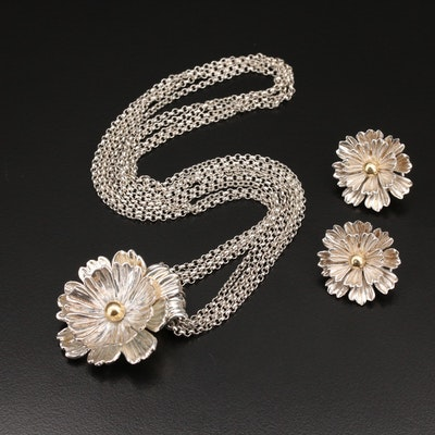 Joseph Esposito Sterling Floral Jewelry with 14K Accents