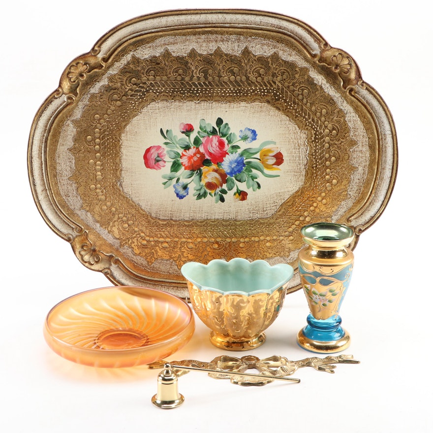 Italian Florentine Gilt Wooden Tray with Complementary Table Décor