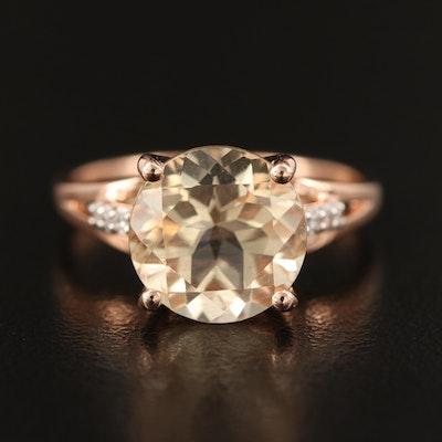 9K Rose Gold Labradorite and White Zircon Ring