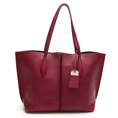 Tod's Burgundy/Berry Grained Leather Tote