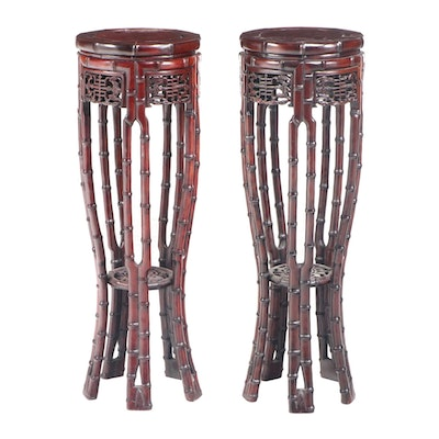 Pair of Chinese Carved Hardwood Pedestals