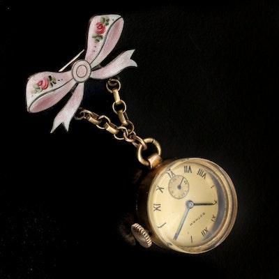 Swiss Gotham Watch with Sterling Enamel Brooch