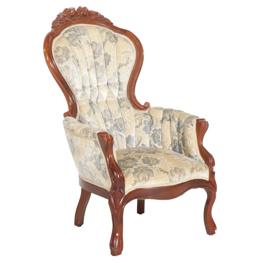 Victorian Style Carved Walnut Upholstered Armchair