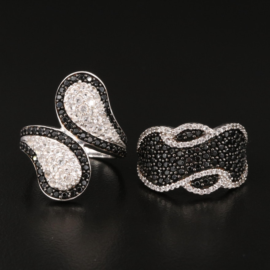 Sterling Silver White Topaz and Black Spinel Pave Rings