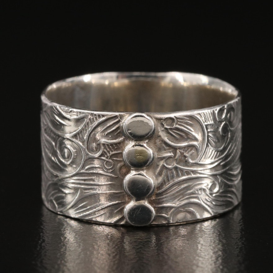 Sterling Silver Scroll and Foliate Band