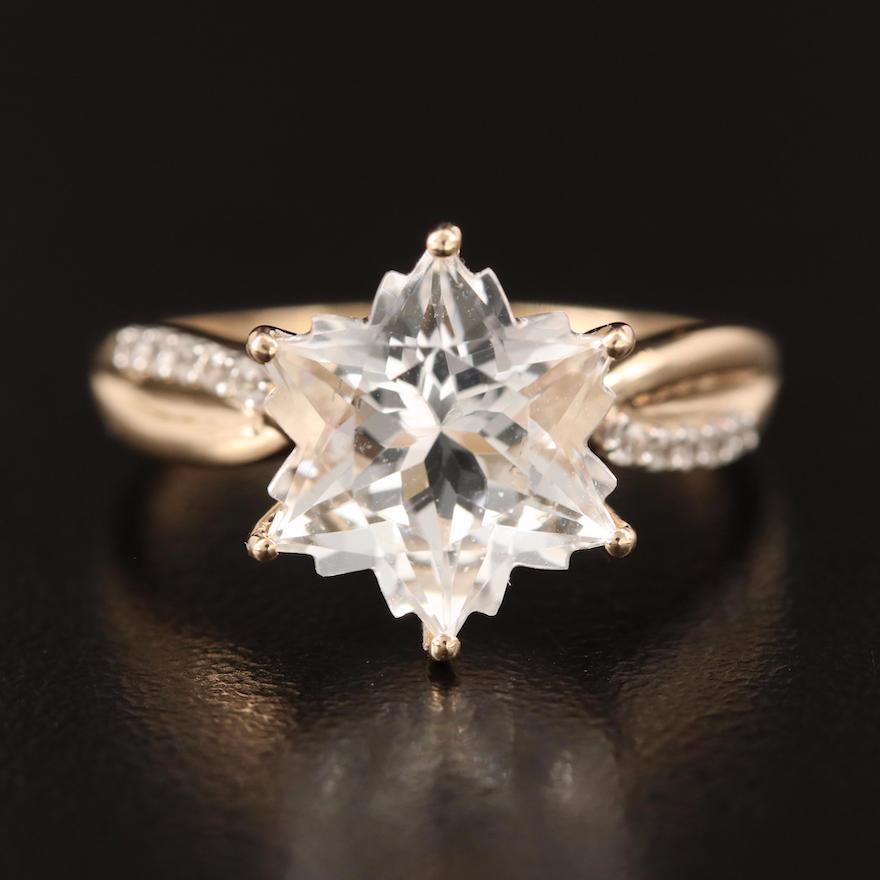 9K Rock Crystal Quartz and White Spinel Ring