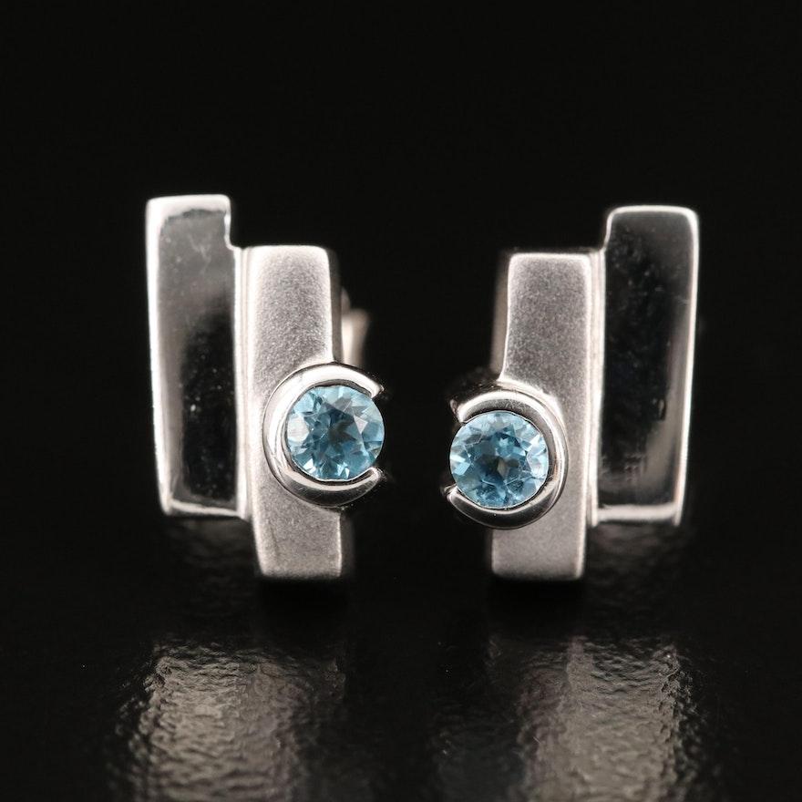 Sterling Topaz Geometric Earrings