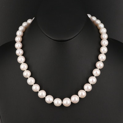 Pearl and Diamond Necklace with 14K Clasp