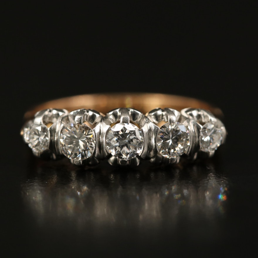 Vintage 18K and Platinum Five Stone Diamond Ring