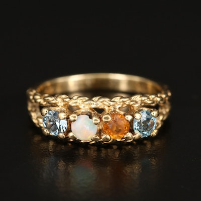 10K Opal and Gemstone Ring with Rope Accent