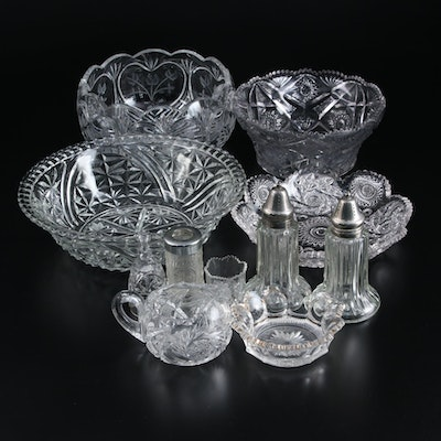 American Brilliant Glass and Other Glass Bowls, Creamer, Toothpick Holders, More