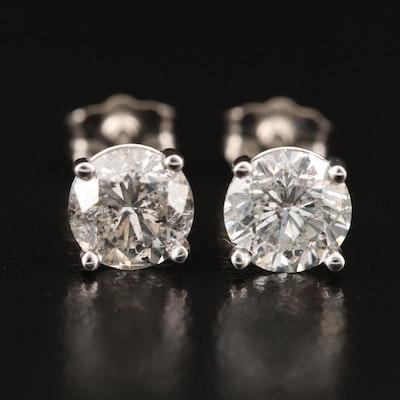 18K 1.76 CTW Diamond Stud Earrings with GIA Reports