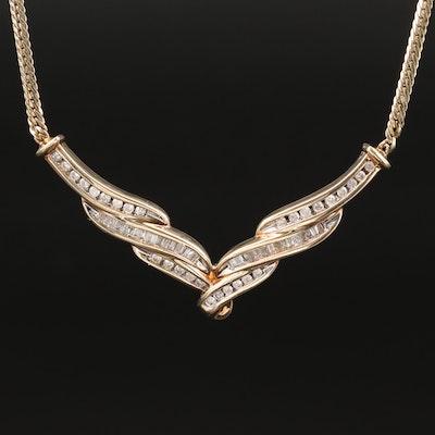 10K 1.10 CTW Diamond Necklace with 14K Clasp