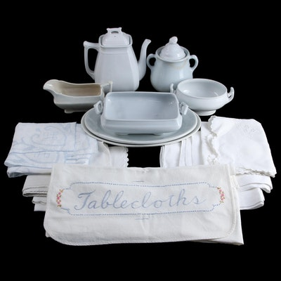 J. & G. Meakin with Other Ironstone Serveware and Linen Table Covers