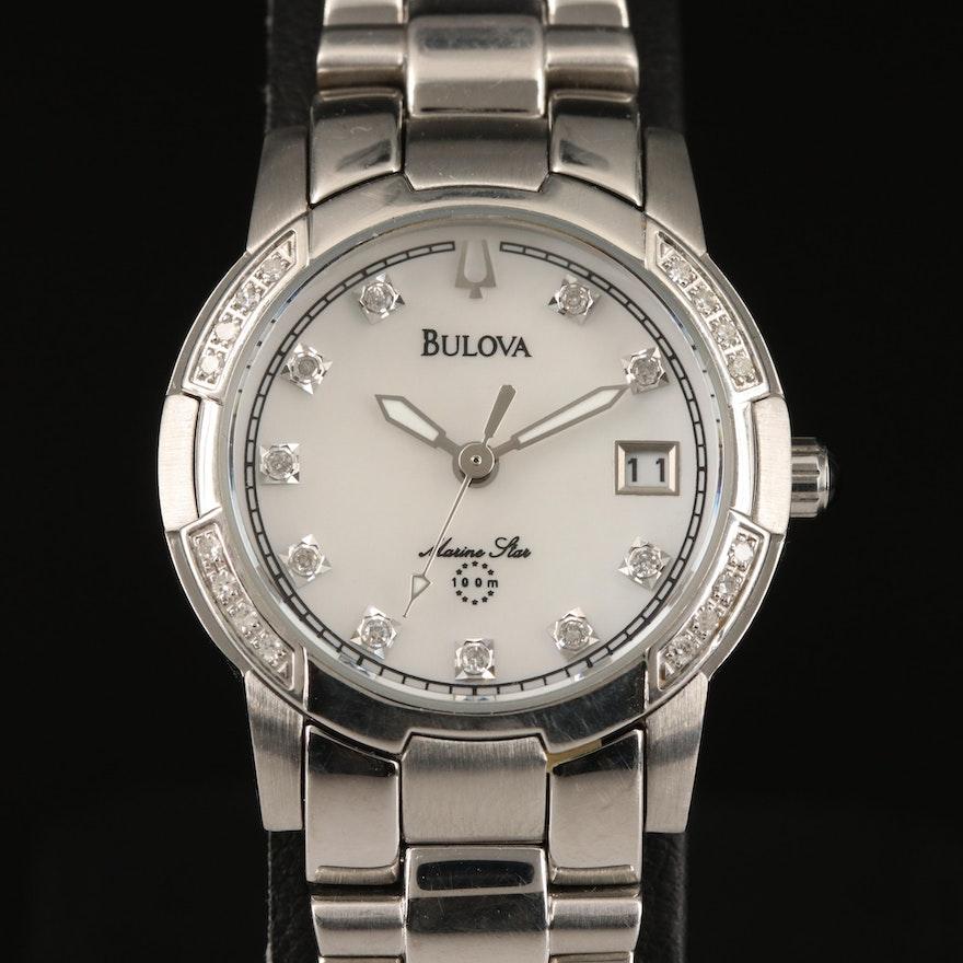Bulova Marine Star Mother of Pearl and Diamond Stainless Steel Quartz Wristwatch
