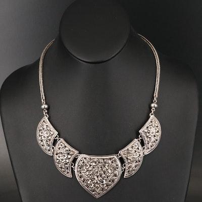 Thai Sterling Silver Floral Repoussé Necklace