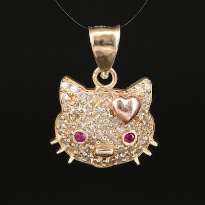 Hello Kitty 10K Ruby and Cubic Zirconia Pendant