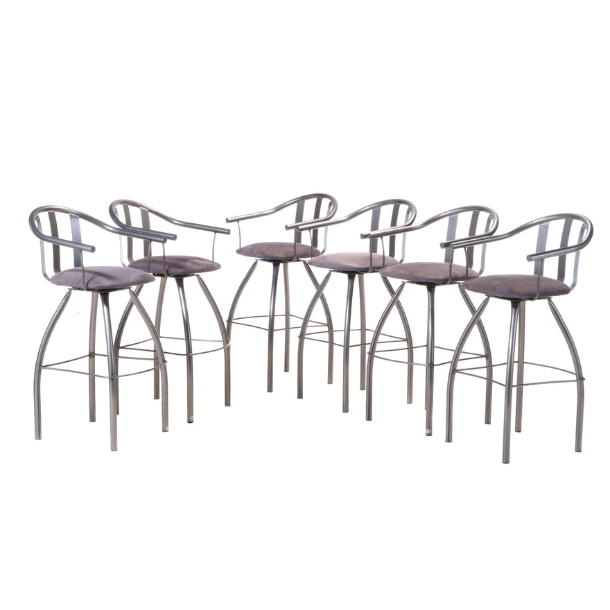Six Amisco Industries Modernist Style Metal Swivel Bar Stools