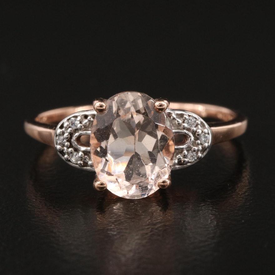 10K Morganite and White Zircon Ring