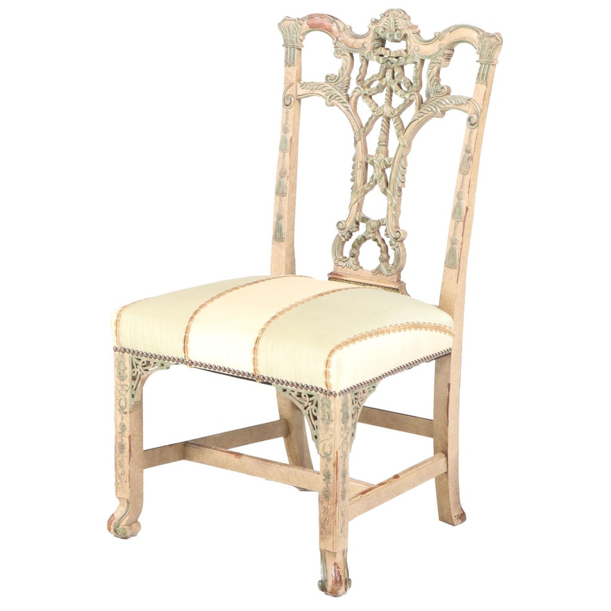 George III Style Polychrome-Decorated Side Chair