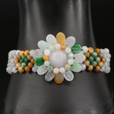 Jadeite Bead Bracelet with Flower Pattern