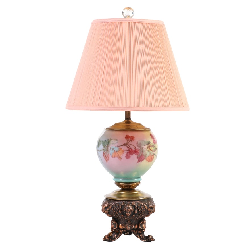 Victorian Style Patinated Metal and Painted Glass Table Lamp with Berry Motif