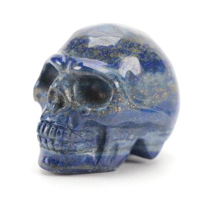 Carved Lapis Lazuli Skull Figurine