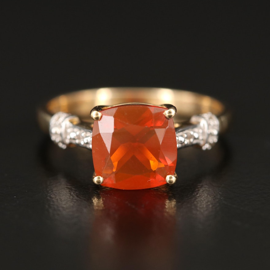 10K Opal and Zircon Ring
