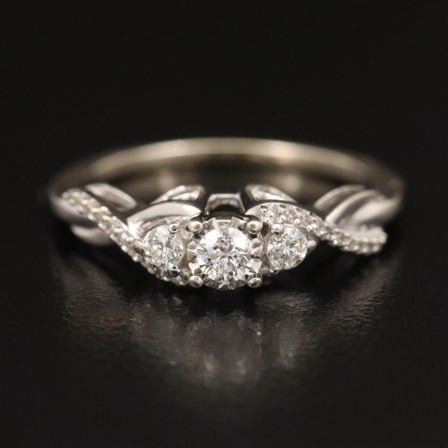 10K Diamond Ring with Illusion Set Center