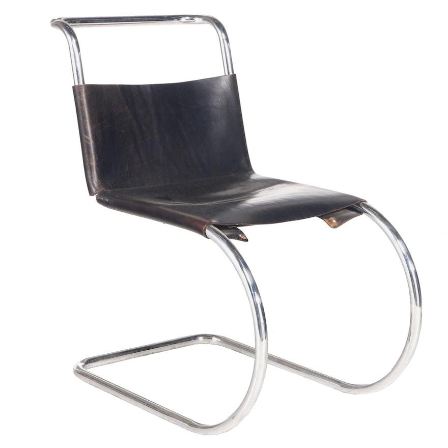 "Mies Van Der Rohe for Stendig Modernist Chromed Steel & Black Leather ""MR"" Chair"