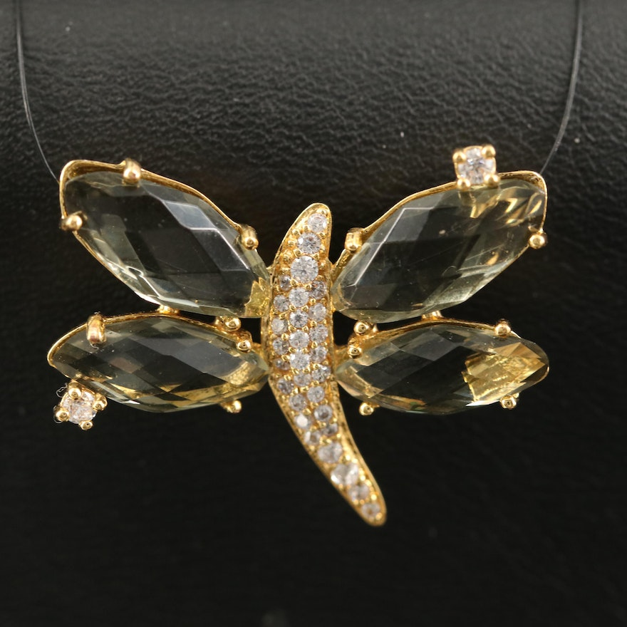 Glass and Cubic Zirconia Dragonfly Pendant