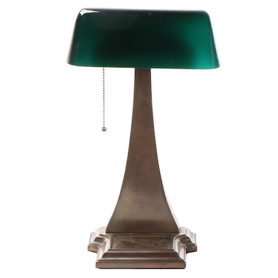 Amronlite Brass and Green Cased Glass Banker's Lamp, Early/Mid 20th C